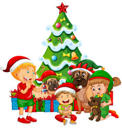 Group of children with their dog with christmas vector