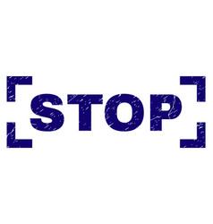 Grunge textured stop stamp seal inside corners vector