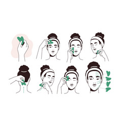 Guide for face lifting massage with facial tool vector