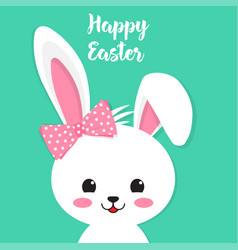 Happy easter rabbit white cute bunny vector