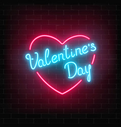 Happy valentines day neon glowing festive sign in vector