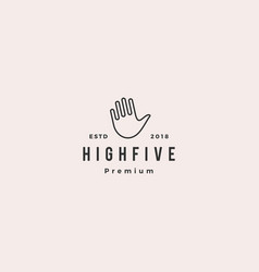 High 5 five hand gesture icon logo line outline vector