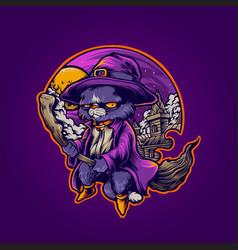 Hogwarts cat withcraft shaman vector