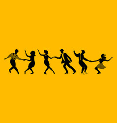 Horisontal banner with dancing couples silhouettes vector