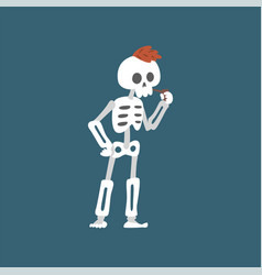 Human skeleton with iroquois smoking pipe funny vector