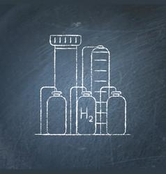 Hydrogen plant icon chalkboard sketch vector