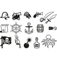 icon pirates set vector image