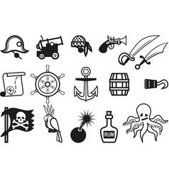 icon pirates set vector image