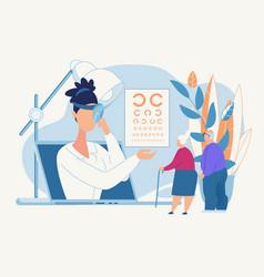 informative poster eye diagnosis an oculist vector image
