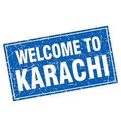 Karachi blue square grunge welcome to stamp vector