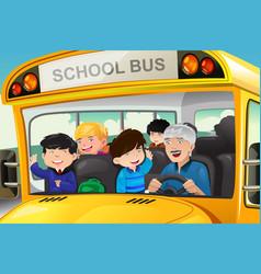 Kids having fun in a school bus vector