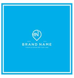 Letter rn pin logo design vector