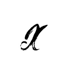 letter x handwritten by dry brush rough strokes vector image
