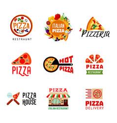 Light italian food restaurant logotypes set vector