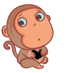 Little boy monkey with a black heart scene vector