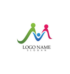 M family care letter wave logo template vector