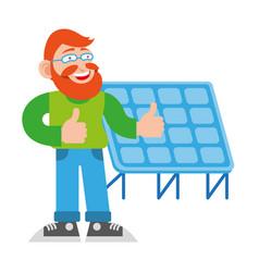 man near solar energy battery vector image