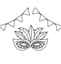 mask brazil carnival in black and white vector image
