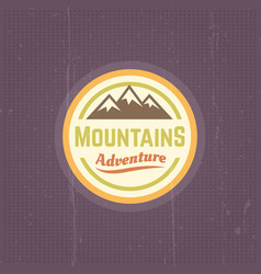 mountains vintage round colored label vector image