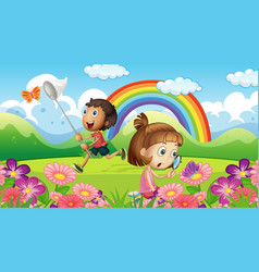 Nature scene background with kids and butterfly vector