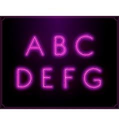 Neon Font Type Alphabet Glowing in vector