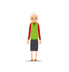 Old woman elderly woman stand and she put her vector