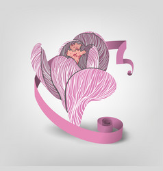 Pink flower with ribbon vector
