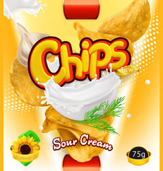 Potato chips sour cream flavor design packaging vector