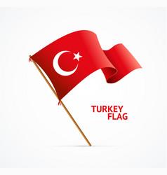 realistic 3d detailed turkey flag on flagpole vector image