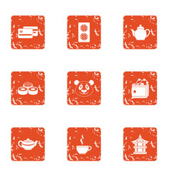 Refreshment icons set grunge style vector