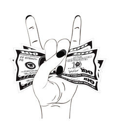 rock-n-roll hand gesture with crumpled one hundred vector image