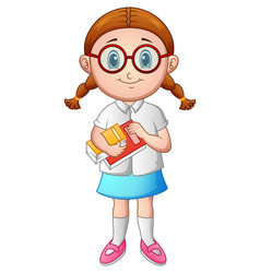 school girl with holding a book vector image