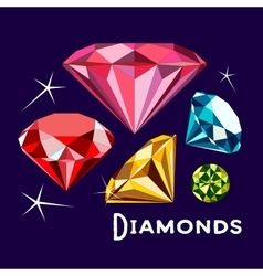 Set of Diamonds vector image