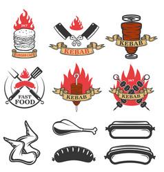 set of fast food emblems and design elements vector image