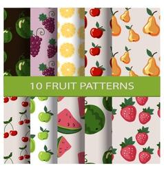Set of fruit patterns vector