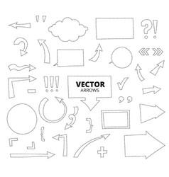 set of hand drawn arrows dashed line pen design vector image