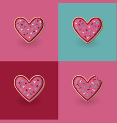 set of heart shape cookies valentine day concept vector image