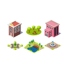 set of modern buildings and park elements square vector image