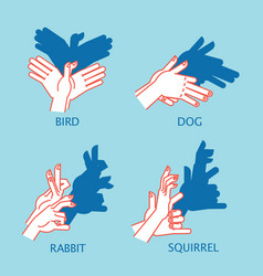 Shadow theater hands gesture like flying bird vector