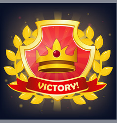 shield with victory banner crown and laurel vector image