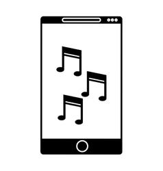 Silhouette smartphone mobile music note vector