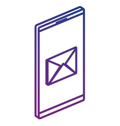 Smartphone device with envelope email isometric vector