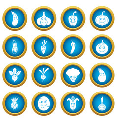 smiling vegetables icons blue circle set vector image