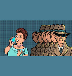 spies eavesdropping a telephone conversation women vector image