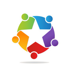 star shape teamwork people logo vector image