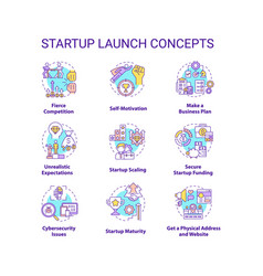 Startup launch concept icons set vector