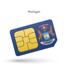 State of Michigan phone sim card with flag vector image