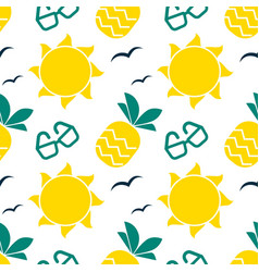 Summer seamless pattern with bright sun and vector