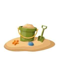 Toy bucket and shovel in sand isolated on white vector