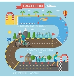 Triathlon race infographic vector image